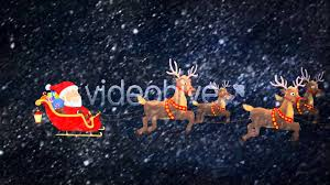 santa riding his sleigh with reindeer motion graphics