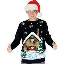 digital dudz santa u0027s cabin ugly christmas sweater at amazon men u0027s