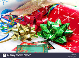 christmas present bows christmas gift wrapping paper bows and ribbons stock photo