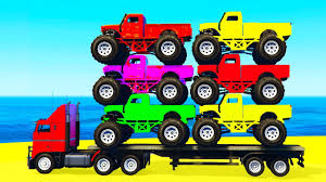 monster truck videos on youtube monster truck transportation in spiderman kids cars cartoon w