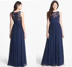 navy blue floor l navy blue chiffon long bridesmaid dresses lace floor length