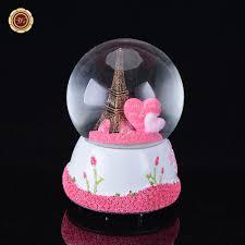 Great Wedding Presents Wr Paris Snow Globe Eiffel Tower Music Box W Pink Heart Best