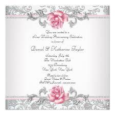 pink damask silver 25th wedding anniversary invitation