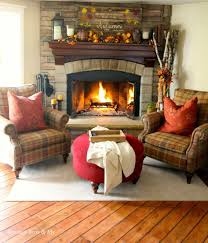 interior vintage home decor for living room with stone fireplace