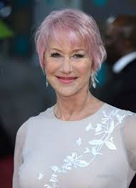 short fringed cut with delicate pink accents helen mirren u0027s