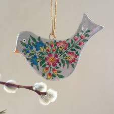 Hanging Paper Bird Decorations Hand Painted Papier Mache Silver Bird Decoration For Hanging With