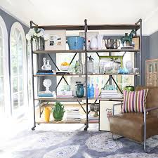 angelo home ludlow wood and metal shelving wall unit overstock