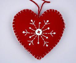 felt ornament scandinavian embroidered snowflake