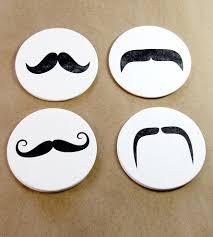 mustache letterpress drink coaster set parties decorations