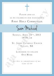 communion invitations boy 1st communion invitation boy blue with simple cross uprint