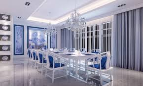 Calming Dining Room Paint Colors For Classy Appearance Ruchi Designs - Blue and white dining room