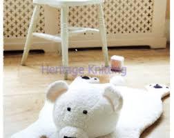 vintage knitting pattern pdf polar bear rug play mat from