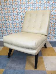 vintage 1960 u0027s danish style low lounge chair cream vinyl mid
