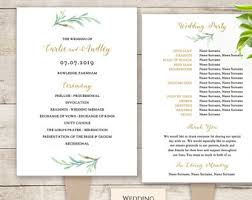 paddle fan program template greenery wedding program template printable wedding program