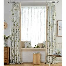 Country Living Curtains Floral Print Linen Cotton Blend Country Living Room Curtains