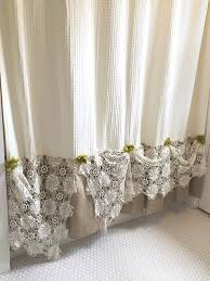 Frilly Shower Curtain Lace Shower Curtains Beautiful Lace Waterproof Shower Curtain