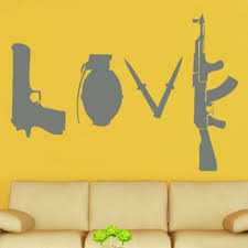 online get cheap wall stickers banksy love aliexpress com banksy design graffitti street wall stickers love weapons removable vinyl wall art kids room decor