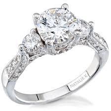 semi mount engagement rings natalie k 14k white gold three diam