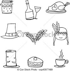 doodle of thanksgiving set vector illustration vector search