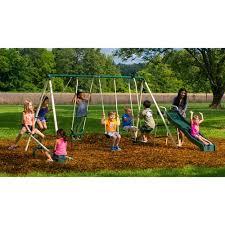 Backyard Set Flexible Flyer Backyard Swingin U0027 Fun Metal Swing Set Walmart Com