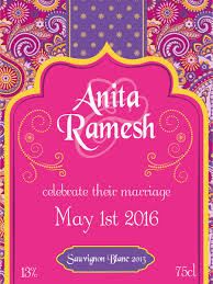 Bollywood Invitation Cards Personalised Wine Label Bollywood Pink