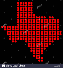 Blank Map Of Texas by Outline Map Of Texas In Red Dots Over A Black Background Stock