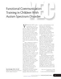 functional communication training in children with autism spectrum