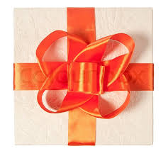bow wrapping paper bow of orange ribbon on the gift box in wrapping paper isolatet