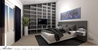 chambre contemporaine design chambre adultes avec tête de lit et bibliothèque sur mesure