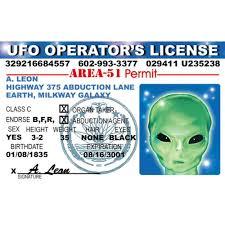 amazon com signs 4 fun niid alien ufo u0027s driver u0027s license home