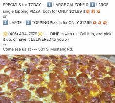 pizza mustang mo s pizza home yukon oklahoma menu prices