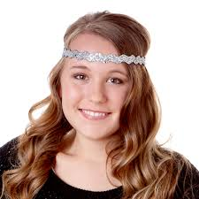 forehead headbands hipsy adjustable no slip bling glitter silver wave headband