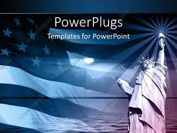 American Flag Powerpoint Background Powerpoint Template Statue Of Liberty With American Flag And