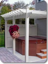 Attached Pergola Kits by Vinyl Pergola With Jacuzzi Attached To The Side Of The House