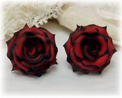 theme black rose black tip red rose studs earrings red black door strandedtreasures