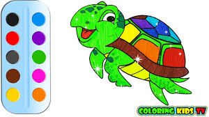 coloring pages turtle u0026 drawing for kids how to color by