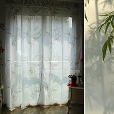 White Bamboo Curtains Country Bamboo Printed Pattern White Polyester Light Translucent