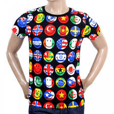 Greece Flag Emoji Colourful Printed Crew Neck T Shirt From Moschino