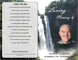 memorial order of service program template waterfall funeral