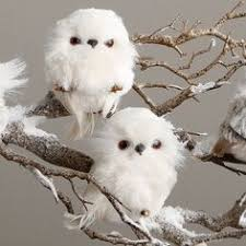 plush feather snowy white owl branch ornament owl feathers