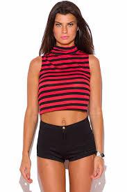shop plus size red stripe turtleneck crop top