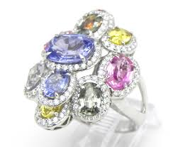 coloured sapphire rings images Ladies 18k white gold 8 53 cts multi colored sapphire diamond jpg