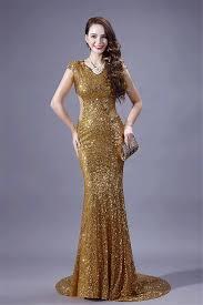 mermaid scoop neck cap sleeve sheer back gold sequin evening prom