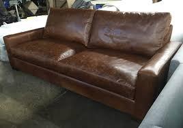 Made In Usa Leather Sofa 90 Inch Braxton Cushion Leather Sofa In Italian Brompton
