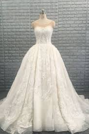 bateau neck low back cap sleeves lace ball gown wedding dress idress