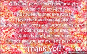 thank message for birthday greetings sweet thank you note for