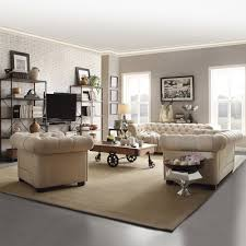 Linen Tufted Sofa by Scroll Arm Sofa Beige Linen Tufted Chesterfield Living Family Room