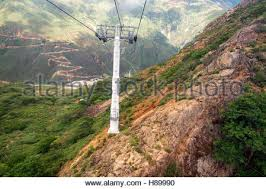 Rugged Landscape Rugged Landscape View Of An Aerial Tram Rising Up A Cliff Through