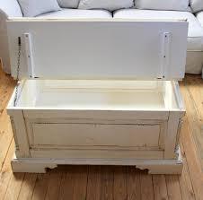 Wohnzimmertisch Kiste Couchtisch Truhe 105x50x80cm Fichte Massiv Antik Creme Vintage