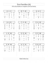 Multiplication Facts Practice Worksheets Math Facts Addition And Subtraction Worksheets Photocito